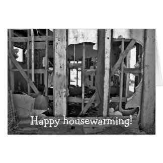 Happy housewarming! card with destroyed house