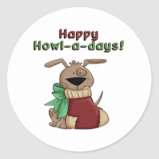 Happy Howl-a-Days Pooch Round Stickers