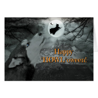 """Happy """"Howl""""oween Husky Dog and Witch Card"""
