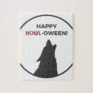 Happy Howl-oween Werewolf Halloween Design Jigsaw Puzzle