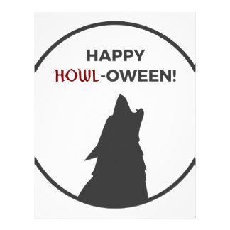 Happy Howl-oween Werewolf Halloween Design Letterhead