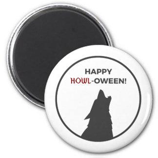 Happy Howl-oween Werewolf Halloween Design Magnet