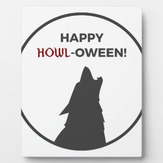 Happy Howl-oween Werewolf Halloween Design Plaque