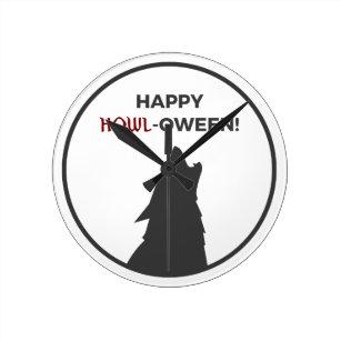 Happy Howl-oween Werewolf Halloween Design Round Clock