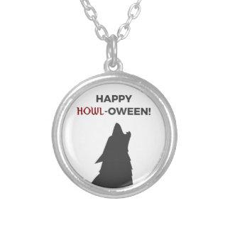 Happy Howl-oween Werewolf Halloween Design Silver Plated Necklace