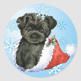 Happy Howliday Affenpinscher Round Sticker
