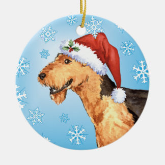 Happy Howliday Airedale Round Ceramic Ornament