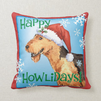 Happy Howliday Airedale Throw Pillow