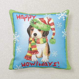 Happy Howliday Beagle Throw Pillow