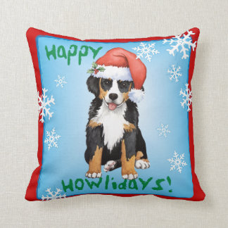 Happy Howliday Berner Throw Pillow