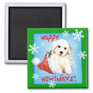 Happy Howliday Bichon Square Magnet