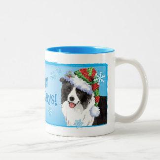 Happy Howliday Border Collie Two-Tone Coffee Mug