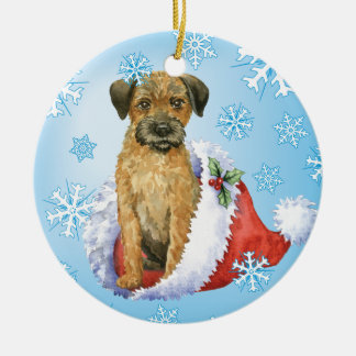 Happy Howliday Border Terrier Round Ceramic Ornament