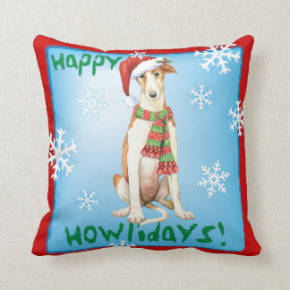 Happy Howliday Borzoi Throw Pillow