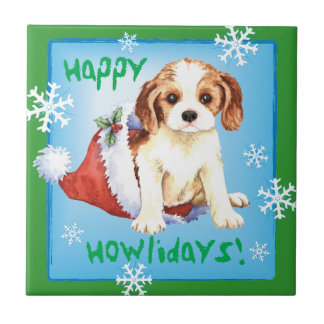 Happy Howliday Cavalier Tile