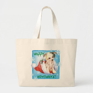 Happy Howliday Chinese Crested Large Tote Bag