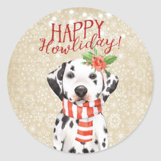 Happy Howliday christmas dalmation pet sticker
