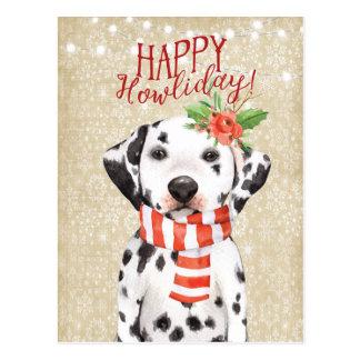 Happy Howliday christmas postcard dalmation holly