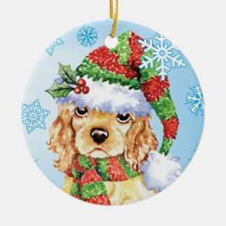 Happy Howliday Cocker Spaniel Round Ceramic Ornament
