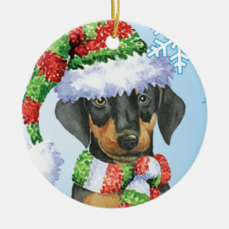 Happy Howliday Doberman Ceramic Ornament