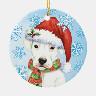 Happy Howliday Dogo Ceramic Ornament