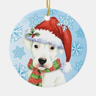 Happy Howliday Dogo Round Ceramic Ornament