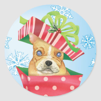 Happy Howliday French Bulldog Classic Round Sticker