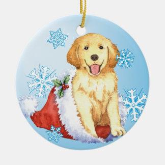 Happy Howliday Golden Retriever Round Ceramic Ornament