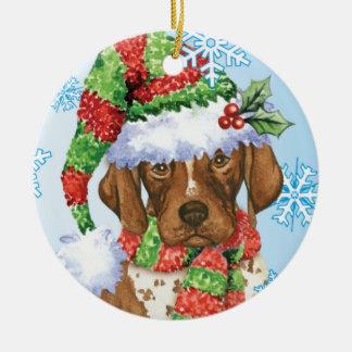 Happy Howliday GSP Round Ceramic Ornament
