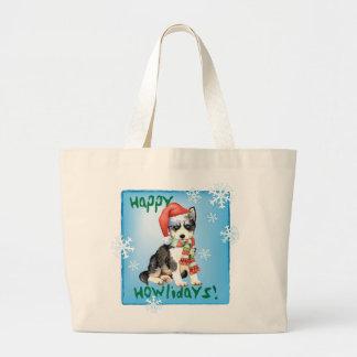 Happy Howliday Husky Large Tote Bag