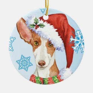 Happy Howliday Ibizan Hound Ceramic Ornament