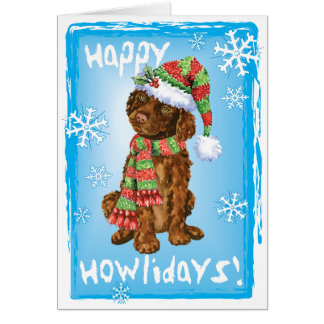 Happy Howliday Irish Water Spaniel Card