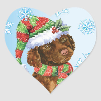 Happy Howliday Irish Water Spaniel Heart Sticker