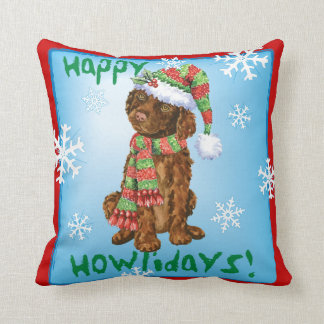 Happy Howliday Irish Water Spaniel Throw Pillow