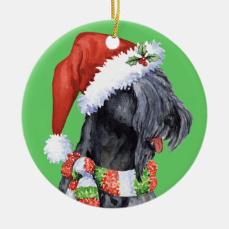 Happy Howliday Kerry Blue Terrier Double-Sided Ceramic Round Christmas Ornament