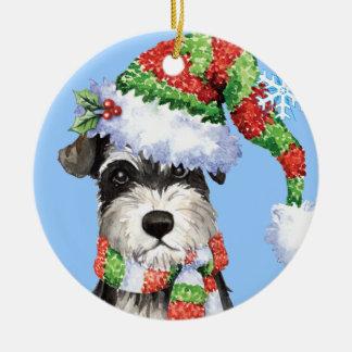 Happy Howliday Miniature Schnauzer Round Ceramic Ornament