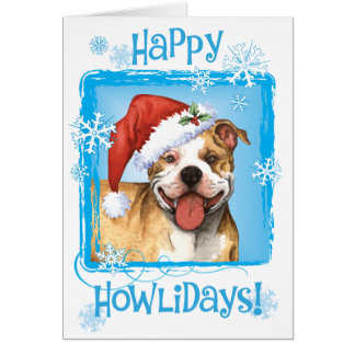 Happy Howliday Pit Bull Terrier Card