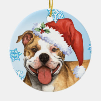 Happy Howliday Pit Bull Terrier Round Ceramic Ornament