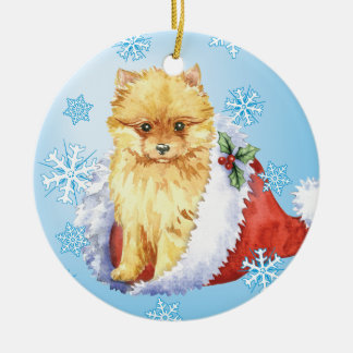 Happy Howliday Pomeranian Ceramic Ornament