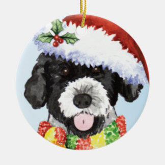 Happy Howliday Portuguese Water Dog Round Ceramic Ornament