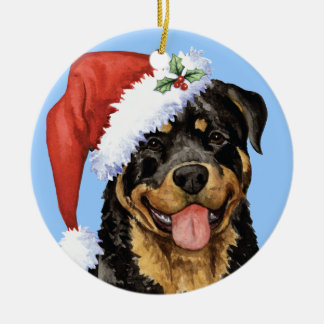 Happy Howliday Rottweiler Round Ceramic Ornament
