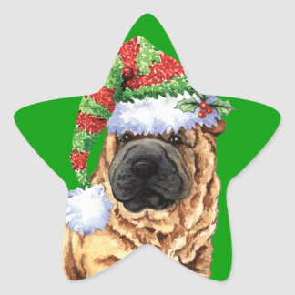 Happy Howliday Shar-Pei Star Sticker