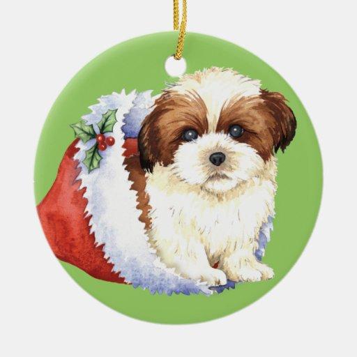Happy Howliday Shih Tzu Christmas Tree Ornament | Zazzle
