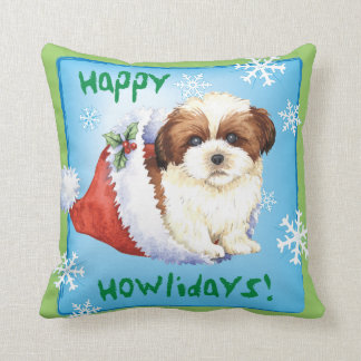Happy Howliday Shih Tzu Throw Pillow