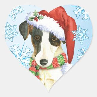 Happy Howliday Smooth Fox Terrier Heart Sticker