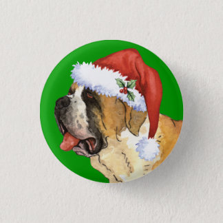 Happy Howliday St. Bernard 1 Inch Round Button