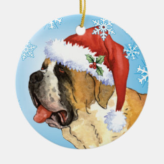 Happy Howliday St. Bernard Round Ceramic Ornament