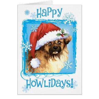 Happy Howliday Tibetan Spaniel Card