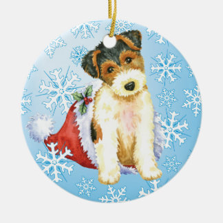 Happy Howliday Wire Fox Terrier Ceramic Ornament