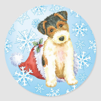 Happy Howliday Wire Fox Terrier Classic Round Sticker